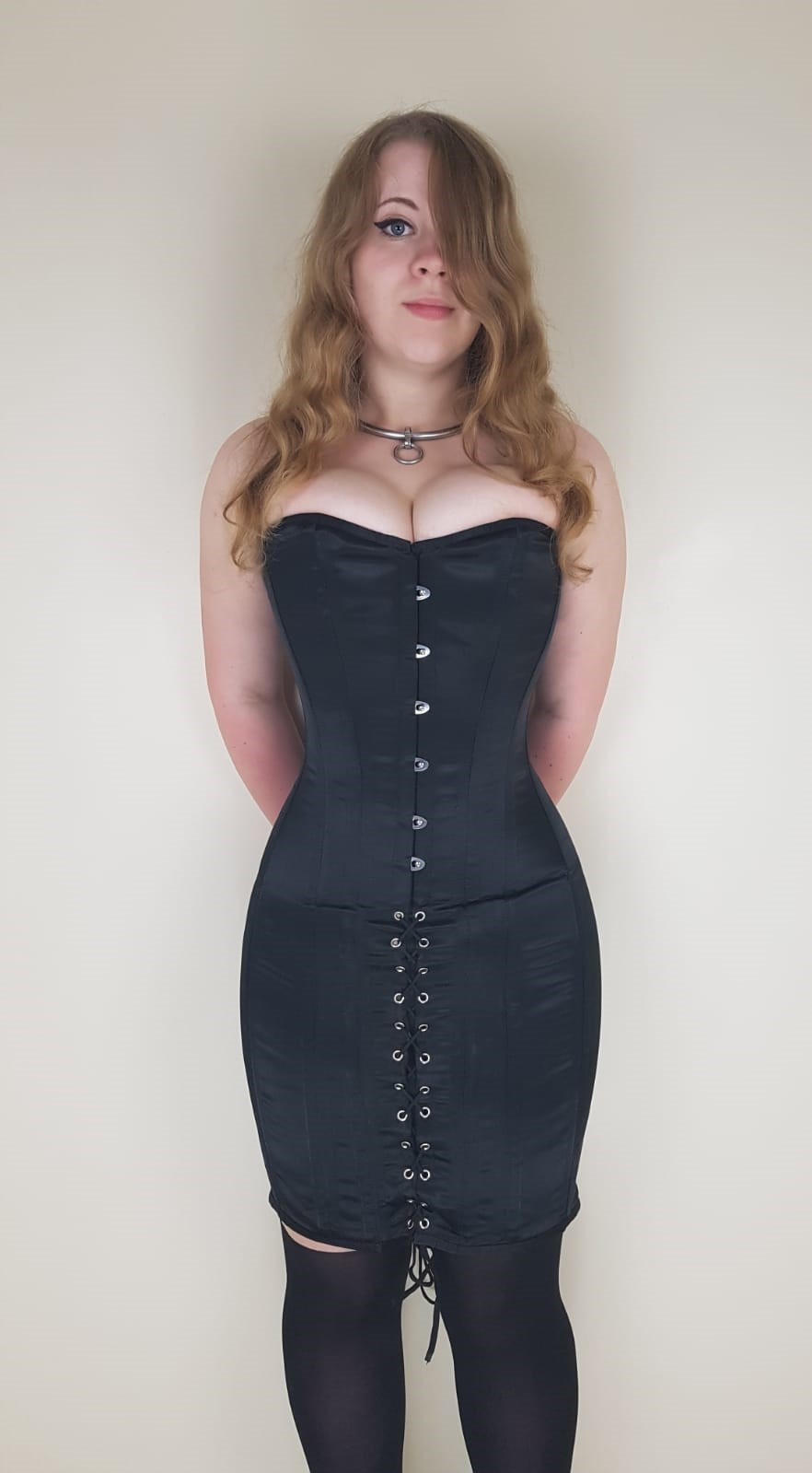 Black Satin Steel Boned Corset Dress Dotty After Midnight